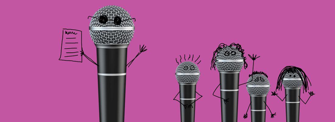 One big microphone talking to a couple of smaller microphones